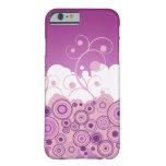 Círculos retros púrpuras con remolinos funda de iPhone 6 barely there