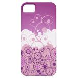 Círculos retros púrpuras con remolinos iPhone 5 Case-Mate protectores