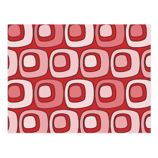 Círculos retros (rojos) postal