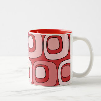 Círculos retros (rojos) taza de café de dos colores