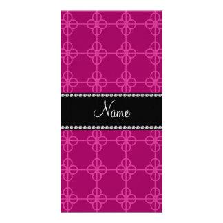 Círculos retros rosados conocidos personalizados tarjetas fotográficas