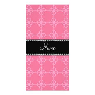 Círculos retros rosados conocidos personalizados tarjetas personales con fotos