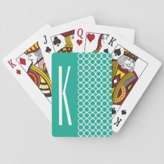 Círculos retros verdes y blancos del trullo baraja de cartas