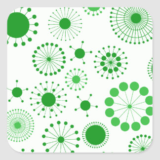 Círculos retros verdes y blancos pegatina cuadrada