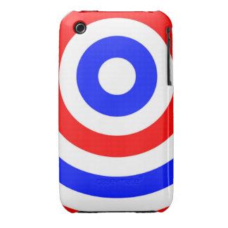 Círculos rojos, blancos y azules iPhone 3 Case-Mate cárcasa