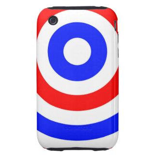 Círculos rojos, blancos y azules iPhone 3 tough coberturas