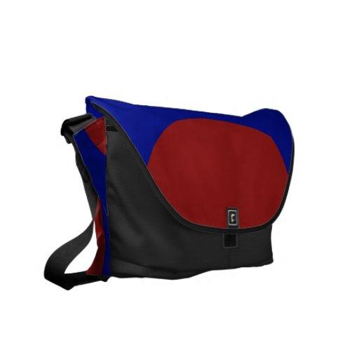 Círculos rojos en azul bolsas de mensajeria