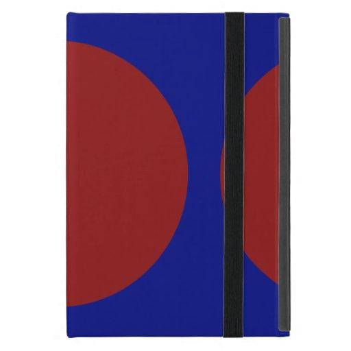Círculos rojos en azul iPad mini carcasa