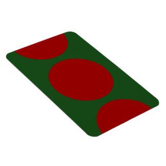 Círculos rojos en verde iman de vinilo