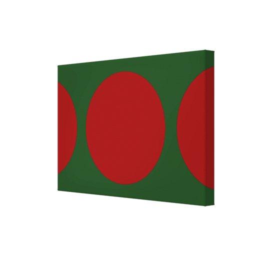 Círculos rojos en verde lona envuelta para galerías