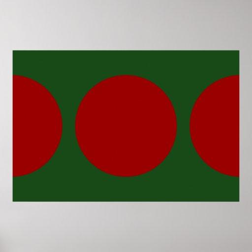 Círculos rojos en verde poster