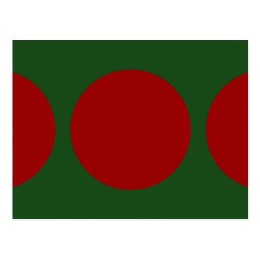 Círculos rojos en verde tarjeta postal