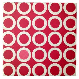 Círculos rojos y blancos azulejo cuadrado grande