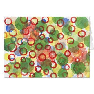 Círculos rojos y verdes del Watercolour Tarjeta Pequeña