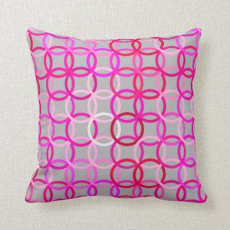 Círculos, rosa, magenta y gris modernos de los cojín