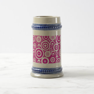 Círculos rosados abstractos jarra de cerveza
