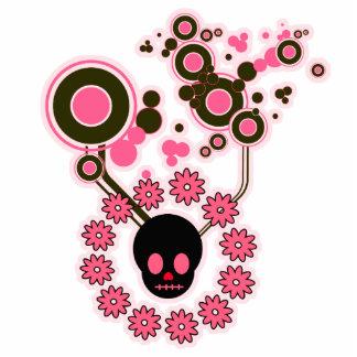 Círculos rosados del cráneo y de la flor esculturas fotográficas
