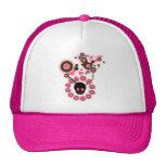 Círculos rosados del cráneo y de la flor gorra