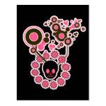 Círculos rosados del cráneo y de la flor postal