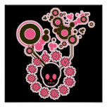 Círculos rosados del cráneo y de la flor poster