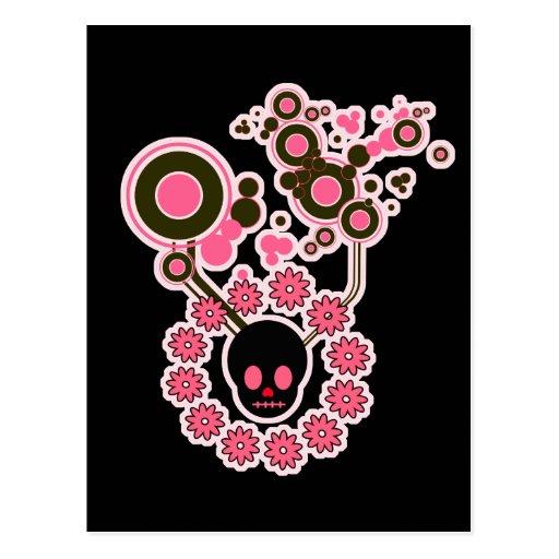 Círculos rosados del cráneo y de la flor tarjeta postal