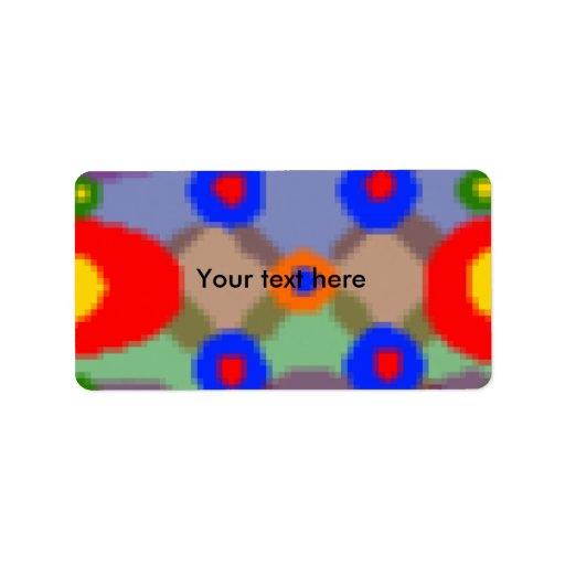 Círculos transparentes en pixilated azul etiquetas de dirección