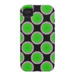 Círculos verdes claros en negro vibe iPhone 4 funda