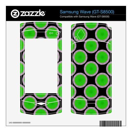Círculos verdes claros en negro skin para el samsung wave