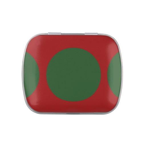 Círculos verdes en rojo