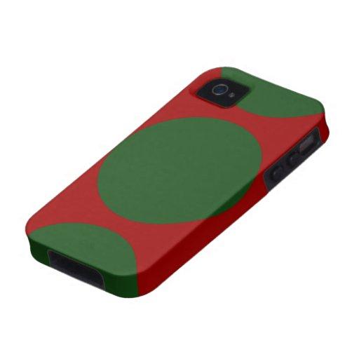 Círculos verdes en rojo funda para iPhone 4