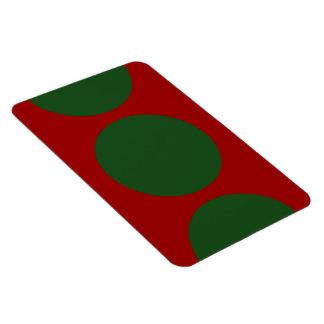 Círculos verdes en rojo iman flexible