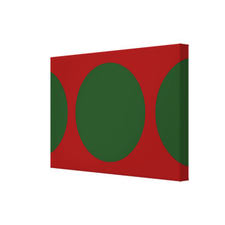 Círculos verdes en rojo lona envuelta para galerías