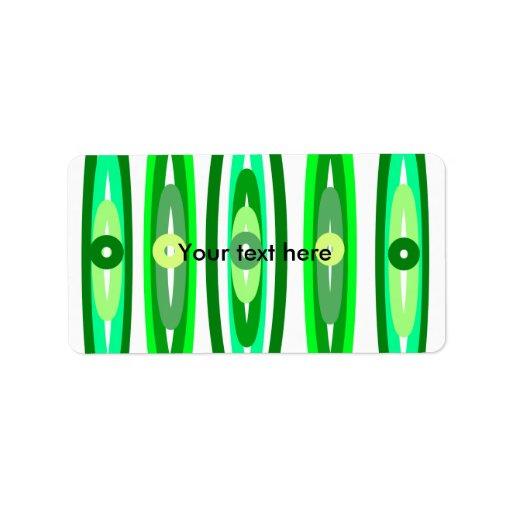 Círculos verdes frescos etiquetas de dirección