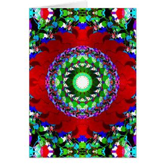 Círculos verdes y azules rojos tarjeta de felicitación