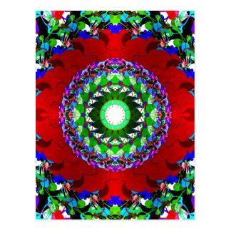Círculos verdes y azules rojos postal