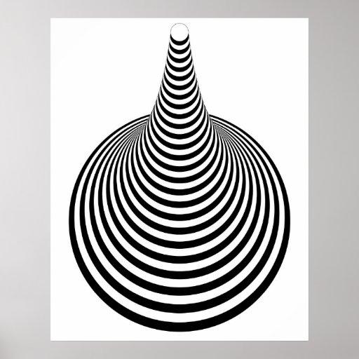 Círculos verticales 01 blancos y negros del arte d