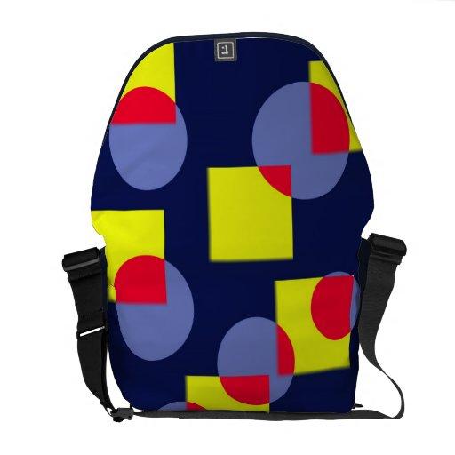 Círculos y ajustado en rojo, amarillo y azul bolsa messenger