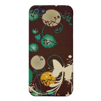 Círculos y caja de la mota de las mariposas iPhone 5 funda