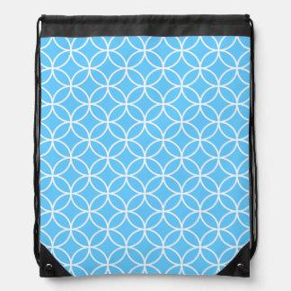 Círculos y diamantes abstractos blancos azules mochila