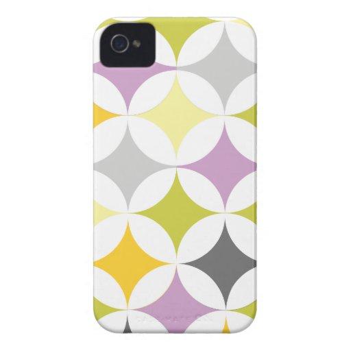Círculos y diamantes retros geométricos modernos carcasa para iPhone 4 de Case-Mate