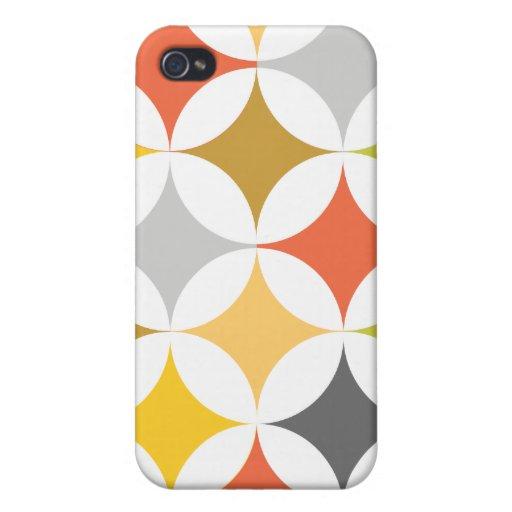Círculos y diamantes retros geométricos modernos iPhone 4/4S fundas