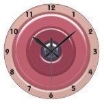 Círculos y diana de los rosas color de rosa con nú reloj