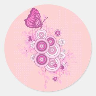 círculos y diseño retros de la mariposa etiquetas redondas