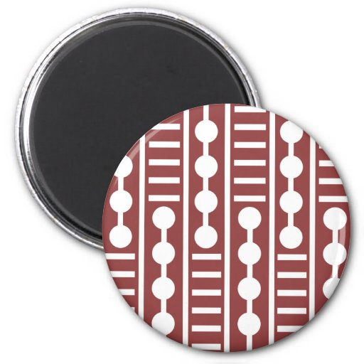 Círculos y líneas rojos modernos imán redondo 5 cm