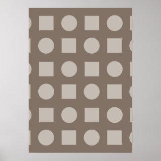 Círculos y marrón del cuadrado poster