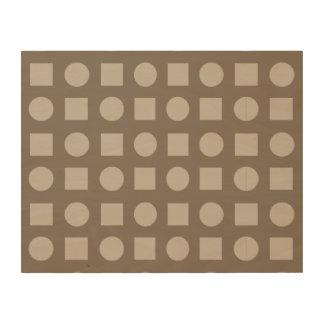 Círculos y marrón del cuadrado impresiones en madera