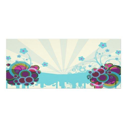 círculos y morenos retros del azul de las flores invitaciones personalizada