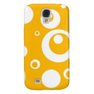 Círculos y puntos en amarillo del mango funda para galaxy s4