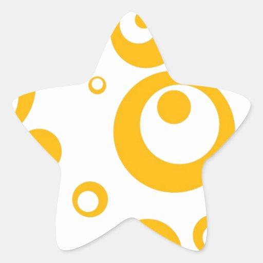 Círculos y puntos en amarillo del mango colcomanias forma de estrellas