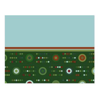 Círculos y puntos en verde oscuro postales